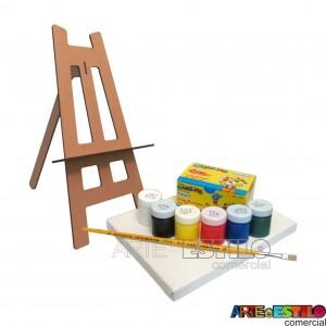 Kit de Pintura Infantil c/ 01 Mini Cavalete + 01 Tela + 06 Cores de tintas + 01 Pincel