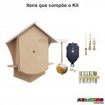 Kit de Relógio modelo Cuco em MDF Completo para Pintar e Montar