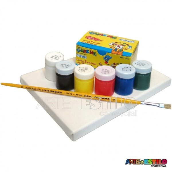 Kit de Pintura Infantil c/ 01 Telas + 06 Cores de tintas + 01 Pincel