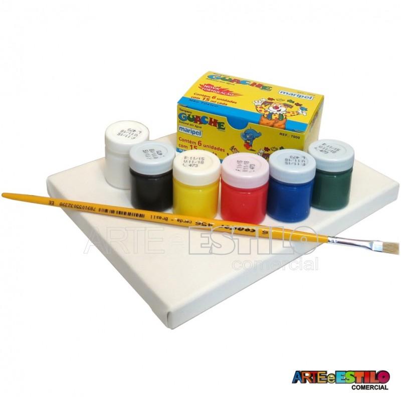 2eb899e6c92 Kit de Pintura Infantil c  01 Telas + 06 Cores de tintas + 01 Pincel ...