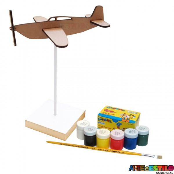 Kit de Pintura Infantil Aviãozinho no pedestal