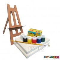 Kit de Pintura Infantil c/ 01 Mini Cavalete + 02Telas + 06 Cores de tintas + 01 Pincel