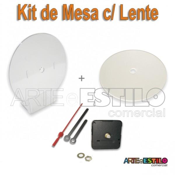 10 Kits completos para relógios de mesa com suporte redondo Transparente + Lente R$ 4,39 cada