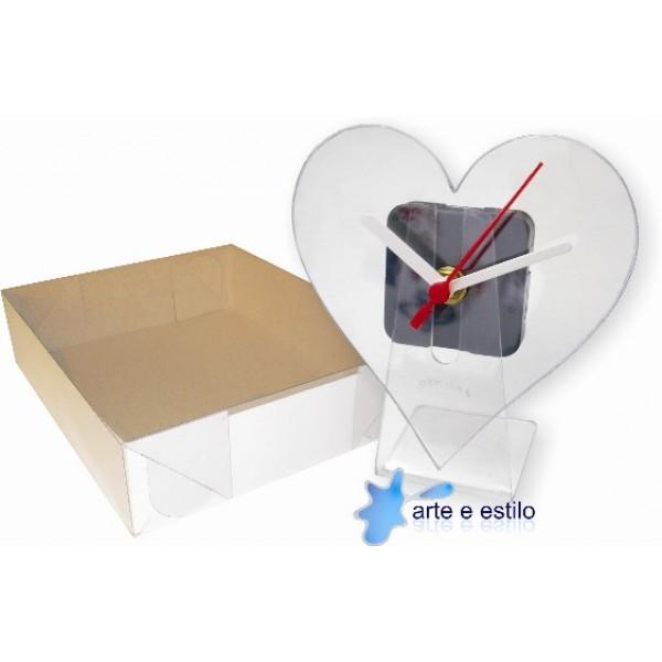 10 Kits de relógios modelo coração para Mesa + Caixa para embalagem