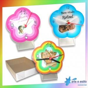 10 Kits de relógios modelo Flor para Mesa + Caixa para embalagem