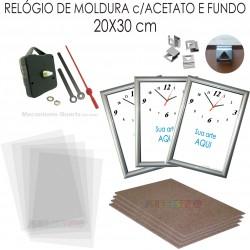 ae92ee25f8b 10 Kits de relógio promocional de Moldura para imprimir e montar cor Prata