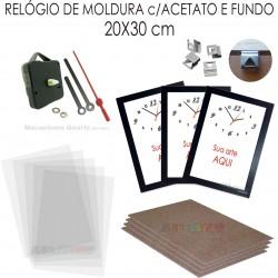 48e80ac57ee 10 Kits de relógio promocional de Moldura para imprimir e montar cor Preta  Reta
