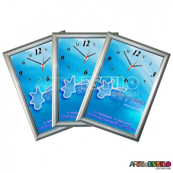 10 Kits de relógio promocional de Moldura para imprimir e montar cor Prata