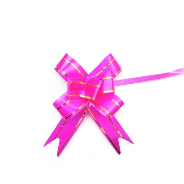 Laço Pronto Pink com Filete Dourado 18x340 mm - 10 unidades
