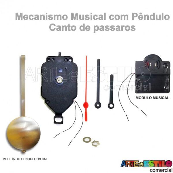 05 Máquinas de relógio eixo c/ Pêndulo e Musicais c/ som de Pássaros