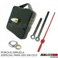 10 Maquinas de relogio QUARTZ (Tic-Tac) PARA USO EM CD'S eixo 13 (5,5 mm de rosca) com alça R$2,85