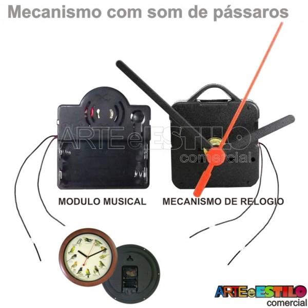 05 Máquinas de relógio QUARTZ (Tic-Tac) eixo 17 Musicais c/ som de Pássaros - Só R$4,90 cada