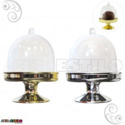 10 Mini Cupula com base Douradas e Prateadas / Redoma de Acrilico - Só R$1,59 cada