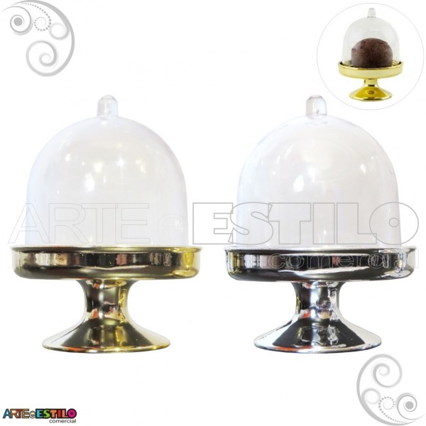 100 Mini Cupula com base Douradas e Prateadas / Redoma de Acrilico - Só R$1,79 cada