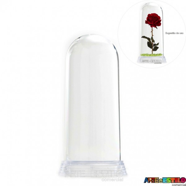 Redoma Cúpula de Acrílico com Base Transparente  Modelo P 11 cm - Só R$2,97 - Emb. com 05 unid.