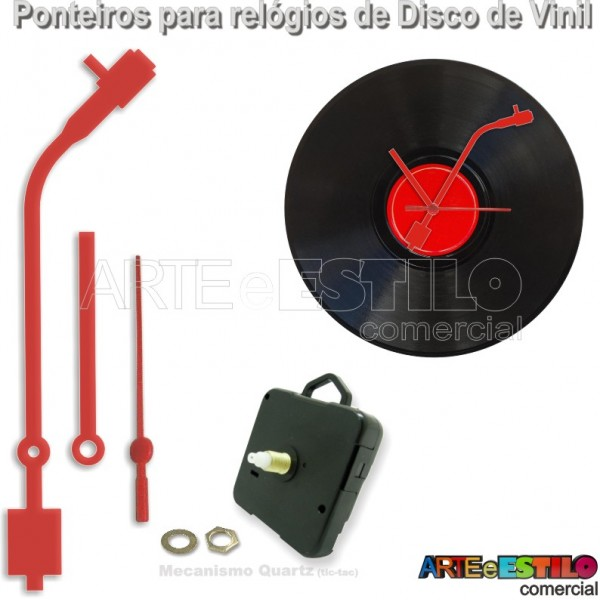 05 Jogos de Ponteiros Grandes mod. Toca Discos 13cm + Mecanismos para relogio de disco de vinil - Cor Vermelho