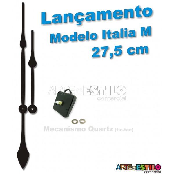 """05 Jogos de Ponteiros Mod. Italia """"M"""" - 27,5cm + Mecanismo Quartz - Cor Preto"""