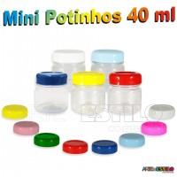 10 Mini Potinhos Redondos 40 ml em Pet c/ Tampa em Diversas Cores - Só R$1,19 cada unidade