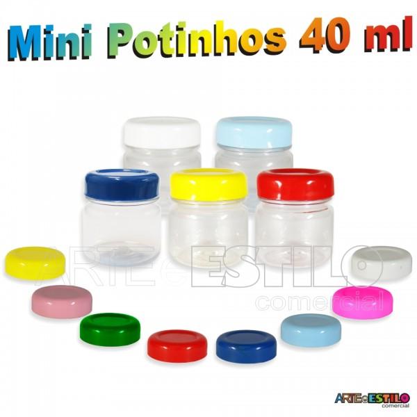 10 Mini Potinhos Redondos 40 ml em Pet c/ Tampa em Diversas Cores - Só R$0,805 cada unidade