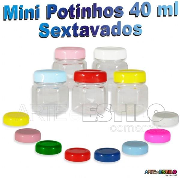 10 Mini Potinhos Sextavados 40 ml em Pet c/ Tampa em Diversas Cores - Só R$0,805 cada unidade