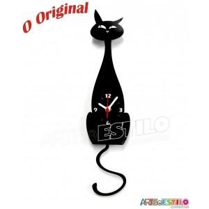 Relógio de parede em acrílico Gato movimento de pêndulo da cauda