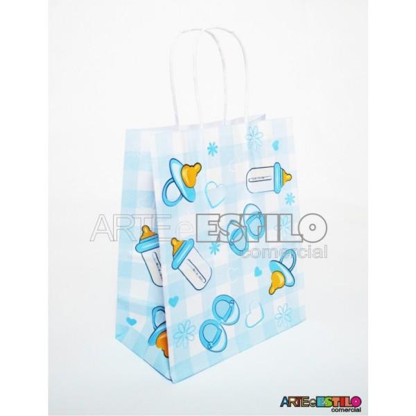 10 Sacolas Chá de Bebê Azul Lembrancinha Nascimento 18x09x22 cm