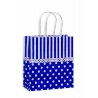 10 Sacolas Poá Azul e Branco 18x09x22 cm