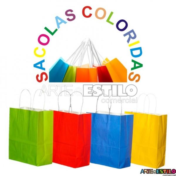 """10 Sacolas Coloridas em papel  """"M"""" - 18x09x22 cm"""