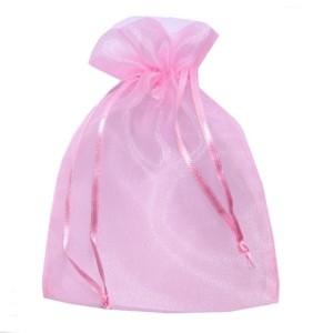 12 Saquinhos de Organza Rosa 12 X 15 cm