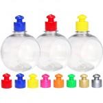 Emb c/ 10 Garrafinhas Bolinha para água, suco, personalizar 300 ml c/ tampa - Transparente