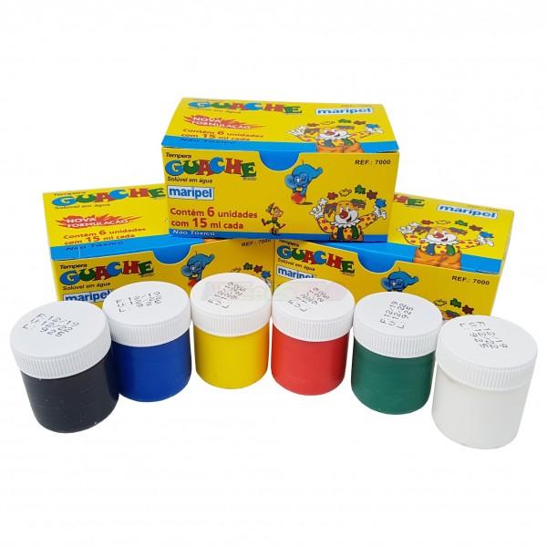 06 Guaches em 06 cores diferentes c/ 15 ml cada
