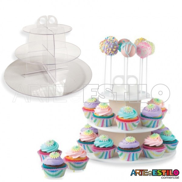 Expositor centro de mesa cor cristal p/ Cupcakes - Só R$29,90 cada