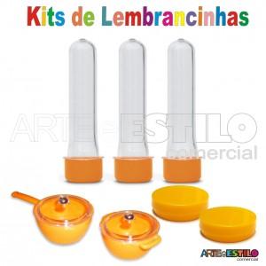 Kit c/ 50 Mini Panelinhas e Caçarolas + Latinhas + Tubetes 13 cm