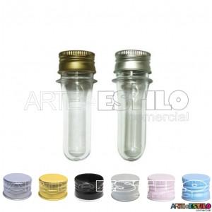 50 Mini Tubetes com tampa de Metal, preformas, tubo de ensaio 08cm só R$0,61 cada