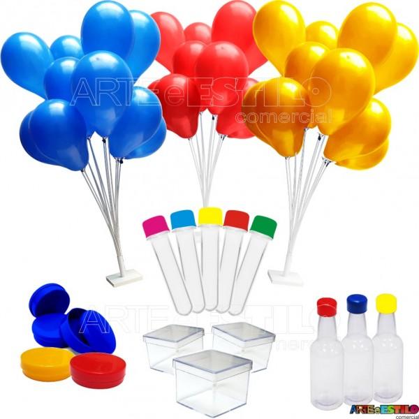 Kit Lembrancinhas contendo 202 Itens com 02 Suportes de Balões, Tubetes, Caixinhas de acrílico, Baleiros, Garrafinhas e Latinhas